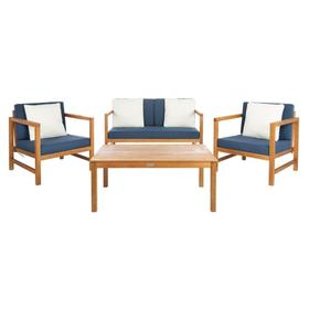 Montez 4 PC Outdoor Set With Accent Pillows - Natural / Navy / White