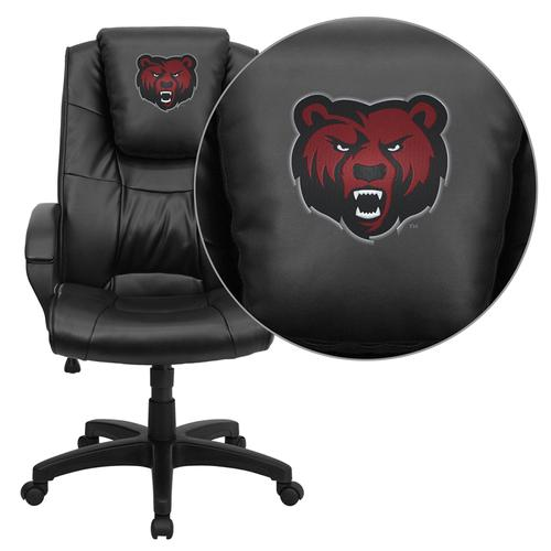 State University of New York at Potsdam Bears Embroidered Black Leather Executive Office Chair