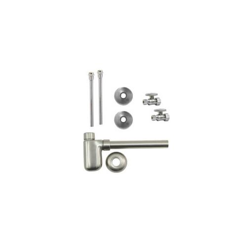 """Lavatory Supply Kit w/ Decorative Trap - Straight - Oval Handle - 1/2"""" Compression (5/8"""" O.D.) Inlet x 3/8"""" O.D. Compression Outlet - Antique Brass"""
