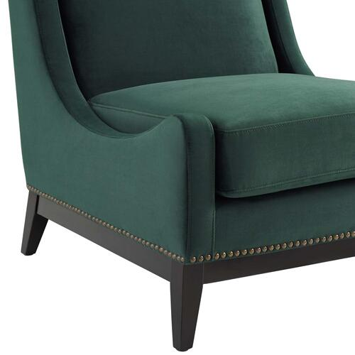 Confident Lounge Chair Upholstered Performance Velvet Set of 2 in Green