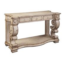 Scrolled Sides Console with 3 Drawers in Distressed Buttermilk Finish by Ultimate Accents