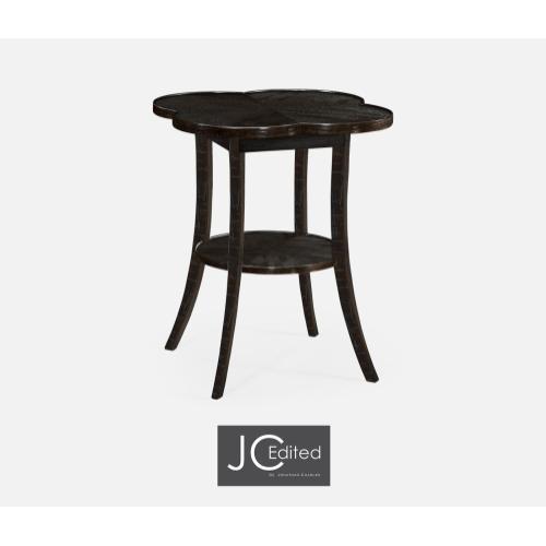 Quatrefoil Lamp Table in Dark Ale