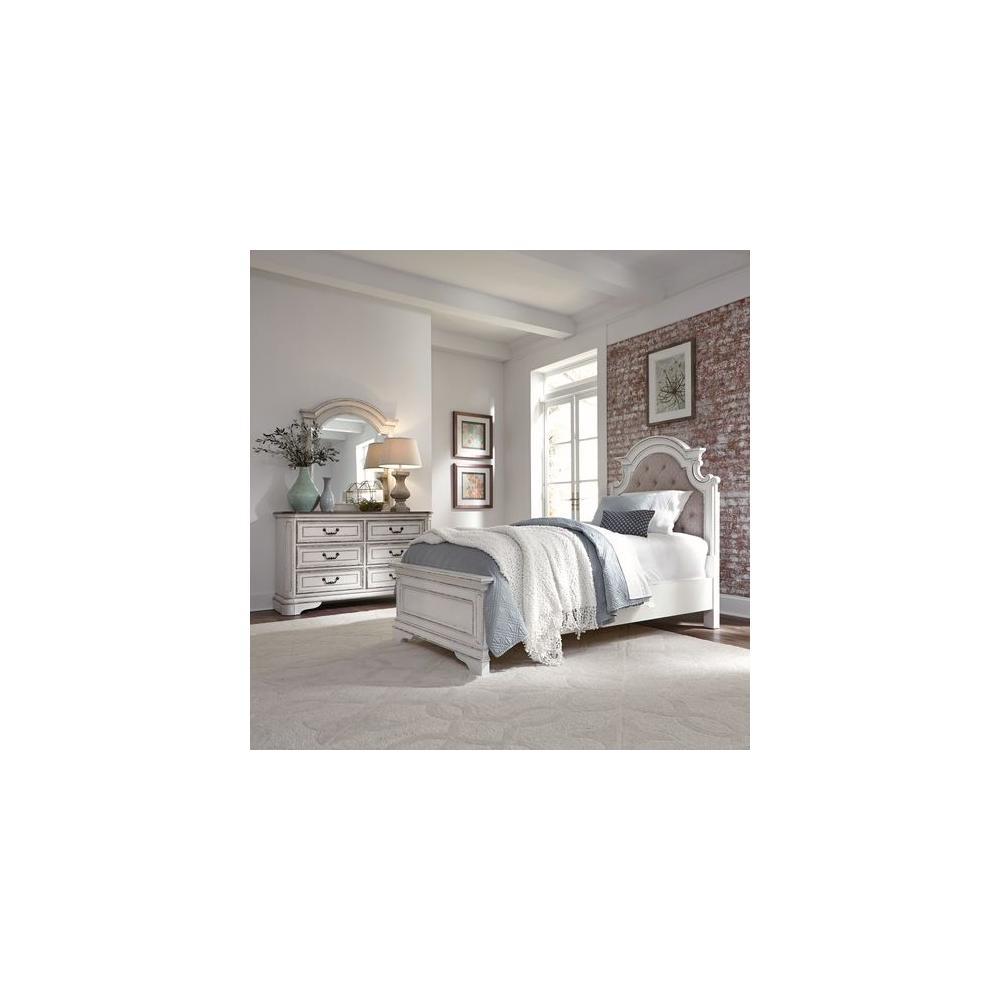 See Details - Full Upholstered Bed, Dresser & Mirror
