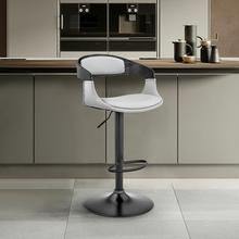 Benson Adjustable Grey Faux Leather and Black Wood Bar Stool with Black Base