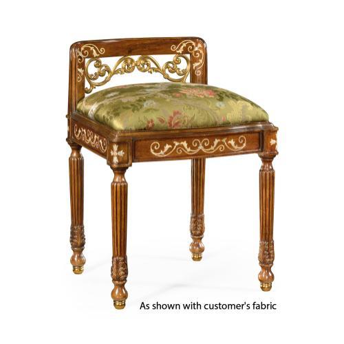 Burl & mother of pearl dressing stool (COM)