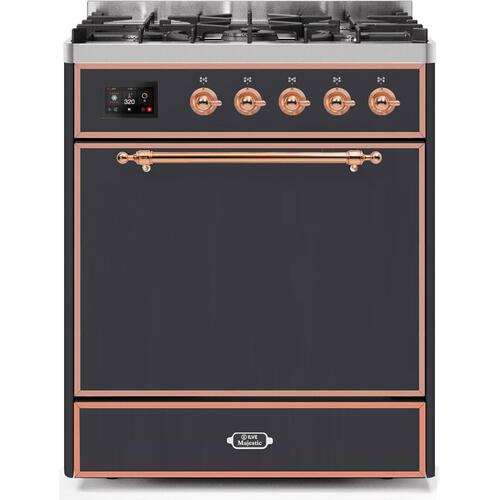 Product Image - Majestic II 30 Inch Dual Fuel Natural Gas Freestanding Range in Matte Graphite with Copper Trim