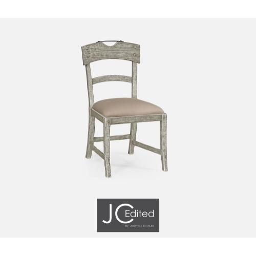 Side chair with upholstered seat in rustic grey