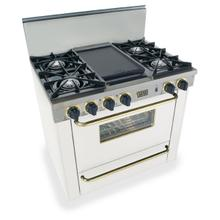 """36"""" All Gas Range, Open Burners, White with Brass"""
