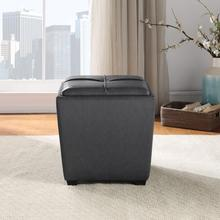 Rockford Storage Ottoman In Pewter Faux Leather