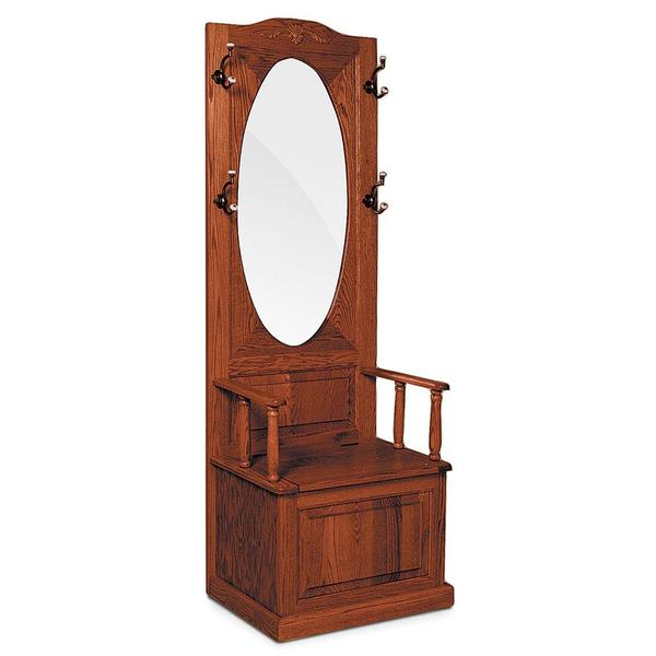 See Details - Hall Seat with Oval Beveled Mirror