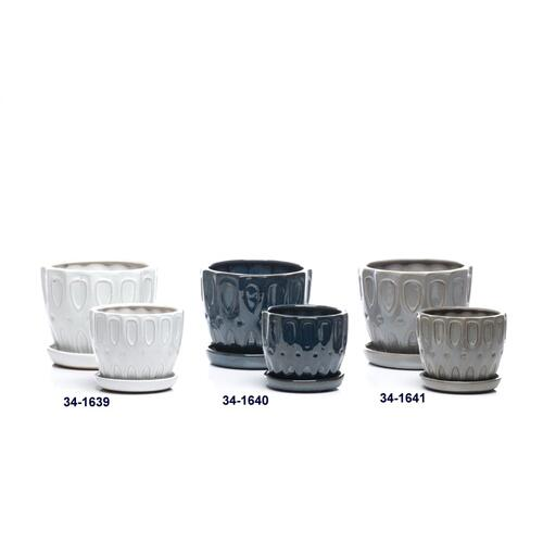 Alfresco Home - Tickets Petits Pots w/ attached saucer, Gray - Set of 2 (Min 4 sets)