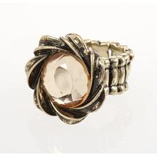 BTQ Burnished Gold Rhinestone Ring