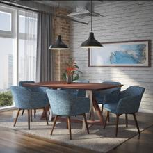 Drake/Minto 7pc Dining Set, Walnut/Blue
