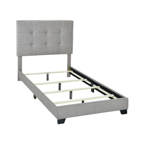 Button Tufted Twin Upholstered Bed in Glacier Gray