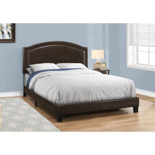 Gallery - BED - QUEEN SIZE / BROWN LEATHER-LOOK WITH BRASS TRIM