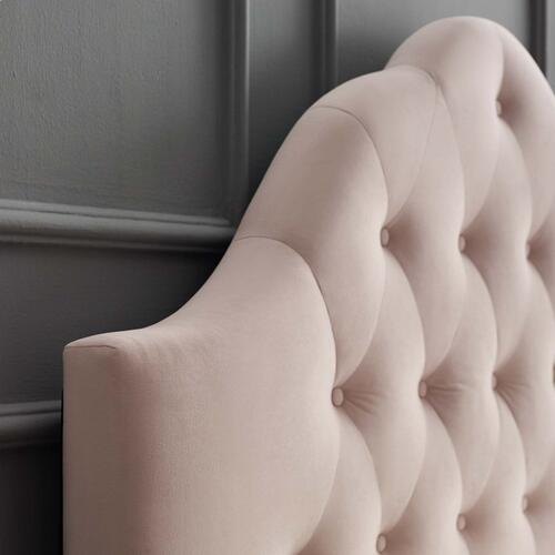 Sovereign Queen Diamond Tufted Performance Velvet Headboard in Pink