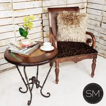See Details - High End Side Table Avant-Garde Travertine Inset w/ Mesquite Green Inlay - Model 1211 BB