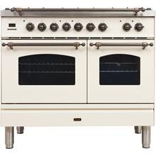 View Product - Nostalgie 40 Inch Dual Fuel Natural Gas Freestanding Range in Antique White with Bronze Trim