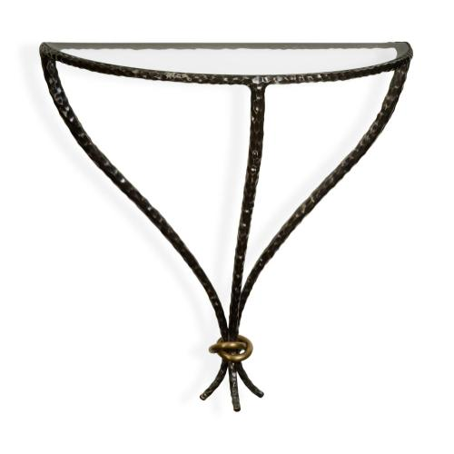 Bronze hammered wall mounted bracket table