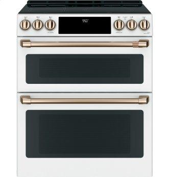 Slide-In Front Control Double Electric Induction Black oven, 7 cu ft (2.7/4.3) , Wifi Connectivity, Self Clean