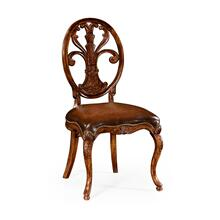 Sheraton style oval back side chair with medium antique chestnut leather seat
