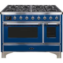 Majestic II 48 Inch Dual Fuel Liquid Propane Freestanding Range in Blue with Chrome Trim