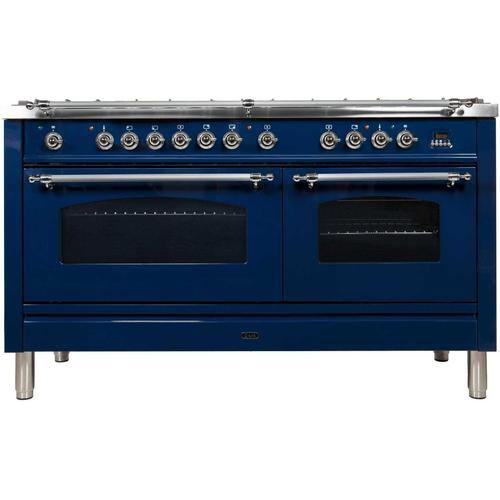 Nostalgie 60 Inch Dual Fuel Natural Gas Freestanding Range in Blue with Chrome Trim