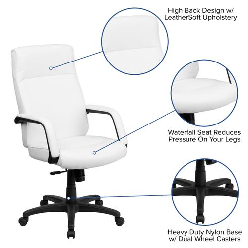 Gallery - High Back White LeatherSoft Executive Swivel Ergonomic Office Chair with Memory Foam Padding and Arms