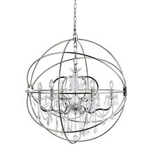 Geneva 6 light Polished nickel Chandelier Clear Royal Cut crystal