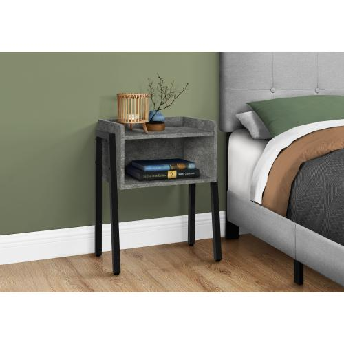 """Gallery - ACCENT TABLE - 23""""H / GREY STONE-LOOK / BLACK METAL"""