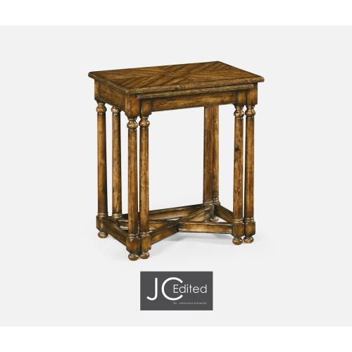 Country Walnut Parquet Nesting Tables with Contrast Inlay