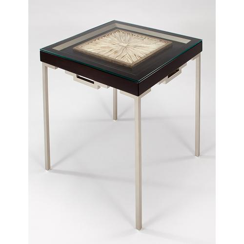 """Artmax - End Table with Glass 24x24x25.5"""""""