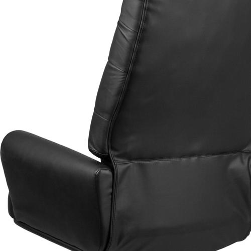 Gallery - High Back Traditional Tufted Black LeatherSoft Executive Swivel Office Chair with Silver Welt Arms