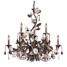 Cristallo Fiore 9-Light Chandelier in Deep Rust with Clear and Amber Florets