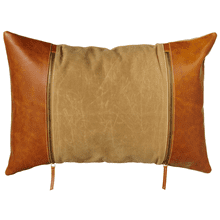 Antique Tan Canvas Lumbar Pillow with Faux Leather Sides
