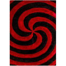 3D-804 RED Spiral Shaggy Rug