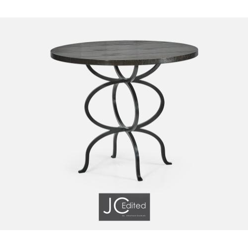 Dark Ale Bistro Style Panelled Round Centre Table