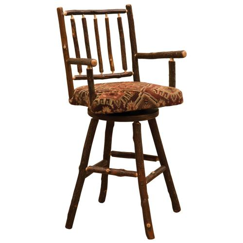 """Swivel Counter Stool - 24"""" high - Natural Hickory - Standard Fabric"""