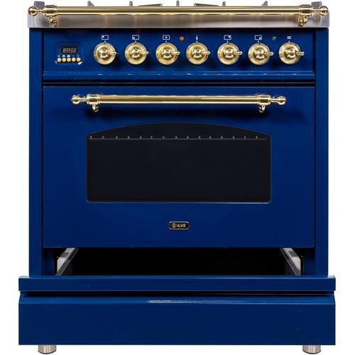 30 Inch Blue Dual Fuel Natural Gas Freestanding Range