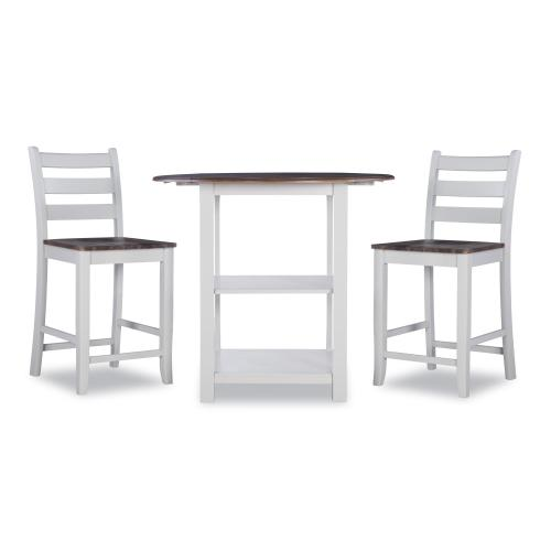 3-piece Counter Height Dining Set, Wire Brushed Oak and Silver Birch