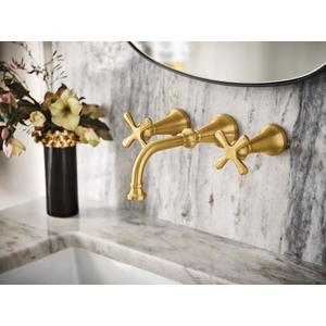 Colinet brushed gold two-handle wall mount bathroom faucet
