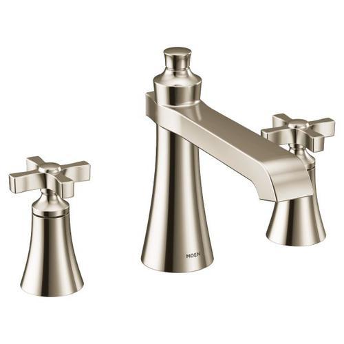 Flara polished nickel two-handle roman tub faucet