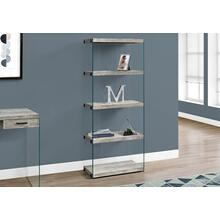 "BOOKCASE - 60""H / GREY RECLAIMED WOOD-LOOK /GLASS PANELS"