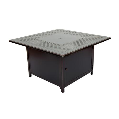 """Heron 42"""" Square Gas Fire Pit Chat Table"""