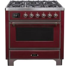 View Product - Majestic II 36 Inch Dual Fuel Natural Gas Freestanding Range in Burgundy with Bronze Trim