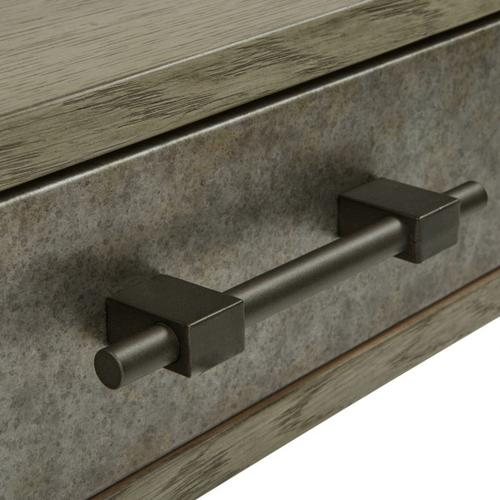 Gray Oak & Metal Drawer Desk