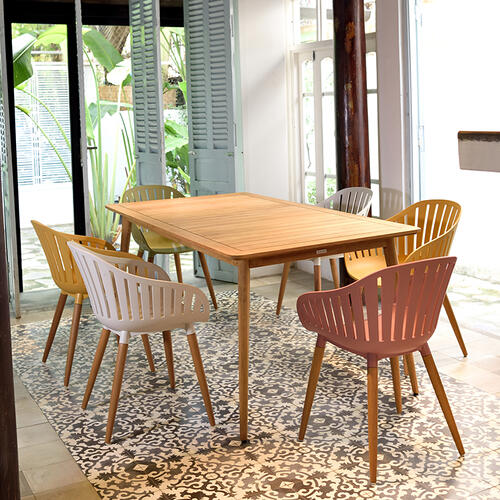 Nassau Outdoor Arm Dining Chairs in Sand Taupe Finish with Wood legs- Set of 2