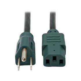 Desktop Computer AC Power Cable, NEMA 5-15P to C13 - 10A, 125V, 18 AWG, 4 ft., Green Plugs