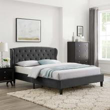 Penelope Tufted Wingback Queen Performance Velvet Platform Bed in Charcoal