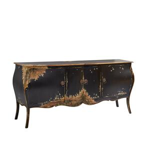 Black and Gold Four Door Bombay Chest
